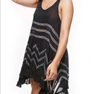 Free People Swift Lace Inset Tunic in Black